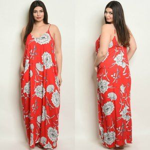 """""""Vacation Day"""" Red Floral Maxi Dress Plus Size"""